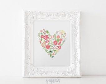 Flower Heart Art Printable - Flower Wall Decor - Flower Heart Printable Wall Art - Love Printable - Love Nursery Decor INSTANT DOWNLOAD