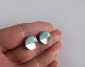 Mint Silver Round Stud Earrings - Surgical Steel Posts