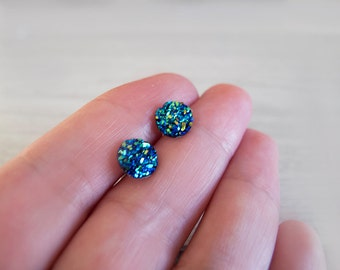 Tiny Druzy Stud Earrings - Hypoallergenic Surgical Steel Posts