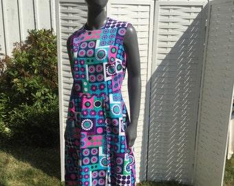 Vintage 60s Hawaiian Barkcloth  Dress, 1960s abstract  Scooter  Dress,, geometric mod graphic print Dress