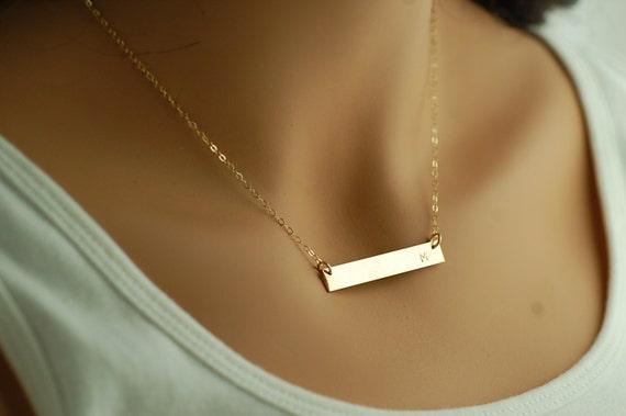 Monogram Gold Bar Necklace | Monogram Bar Necklace | Engraved Gold Bar Necklace | Gold Name Bar Necklace