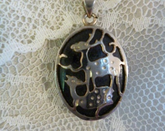 Modernist Rain Deer Pendant, Silver Metal, with Black Onxy Abstract Background, Silver Chain, Vintage 70s
