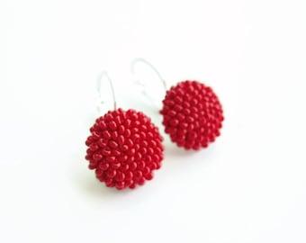 Red Earrings - Solid Red Earrings - Casual Red Earrings - Red Dangle Small Earrings - Beaded Earrings - Red Round Earrings - Scarlet Red