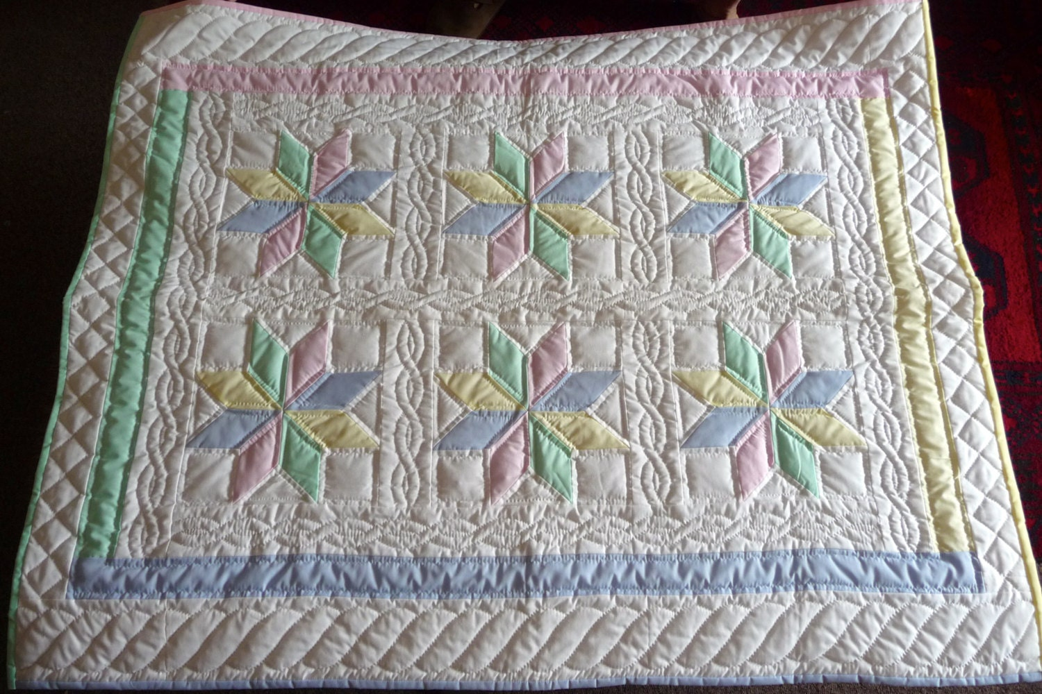 Amish Baby Quilt Starflower Pattern 8 Pointed Star