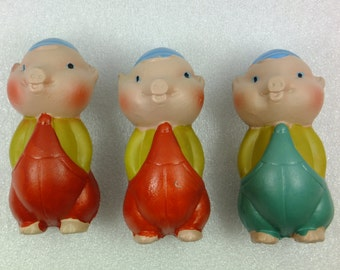 Vintage Rubber toys Three Pigs Rubber Toys  1980 Red Green Pigs
