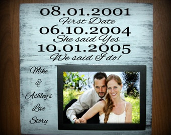 Our love story with names and dates wood sign with picture frame - holds a 5 x 7 photo - wedding gift, anniversary