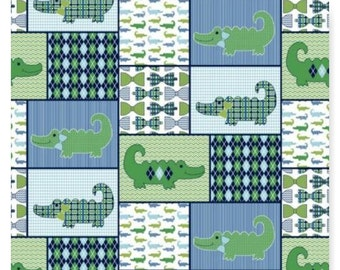 LITTLE GENTLEMEN Alligator Argyle Cotton Patchwork Fabric Springs Creative