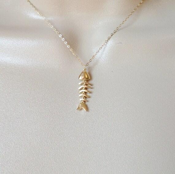 Fishbone necklace gold fish bones necklace gold fish for Fish bone necklace