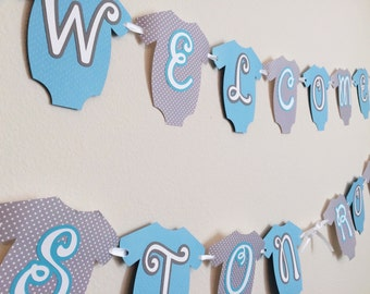 Baby Onesie Banner ; Baby Shower Banner ; Blue and Gray Boy Baby Shower Decorations ; Welcome Banner