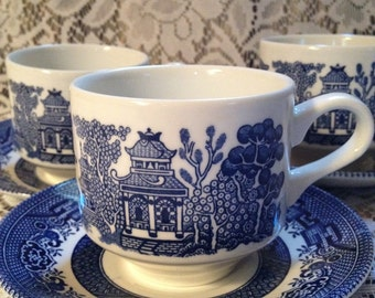 Blue Willow cups and saucers by Churchill. Made in England. Set of 3