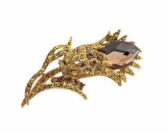 Topaz Glass and Clear Rhinestone Flower Brooch With Gold Tone Metal / b14