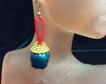 Vintage Green & Red Christmas Jingle Bell Dangle Earrings