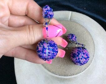 Vintage Chunky Blue & Pink Beaded Dangle Earrings