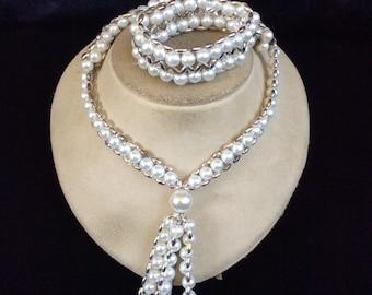 Vintage Faux Pearl Tassle Necklace & Matching Bracelet