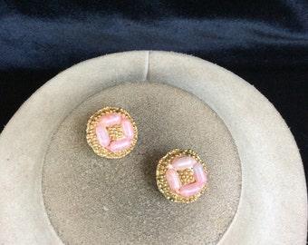 Vintage Pink Beaded Earrings