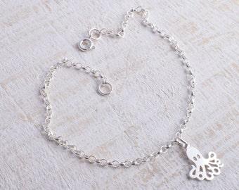 Sterling silver chain octopus bracelet sterling silver 925 sea life bracelet