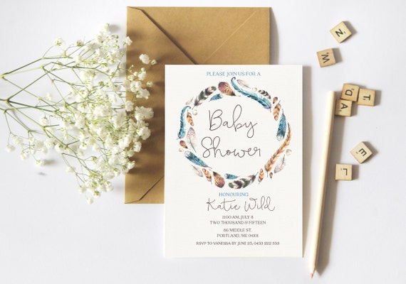 bohemian baby shower invitation unisex baby shower invite feather