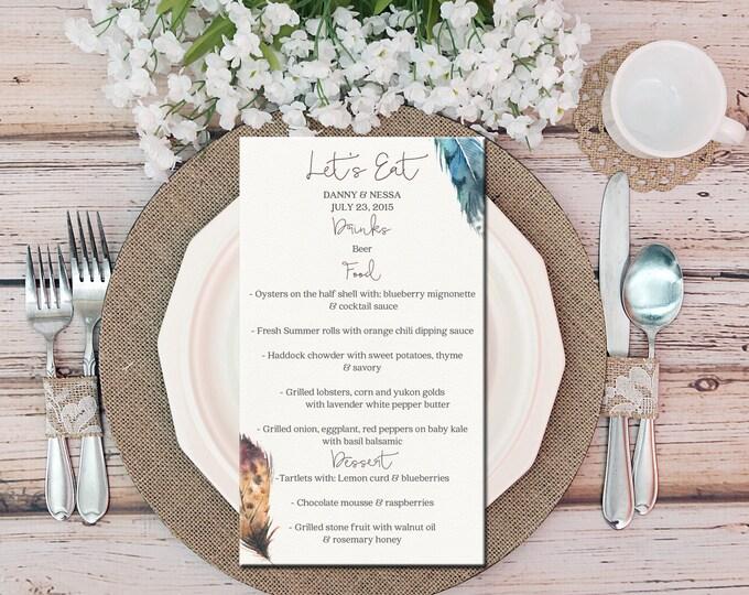 Printable Wedding Table Menu, Bohemian Feather Watercolor, Blue & Brown, Boho Menu, Drinks Menu, DIY Printable Menu