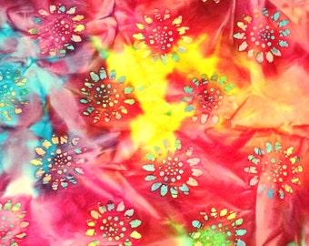 Pink, purple, blue, green, yellow and orange batik fabric by the yard #1536