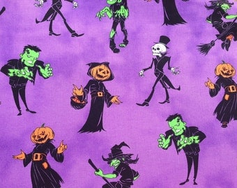 Halloween fabric - monster fabric - Frankenstein fabric - ghost fabric - witch fabric - jackolantern fabric - #1553