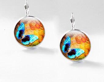 Butterfly Earrings, Glass Butterfly Jewely, Butterfly drop earrings (earrings 21)