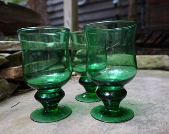 Vintage Green Glass Goblets, Set of 3
