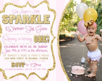 Sparkle Party First Birthday Invitation