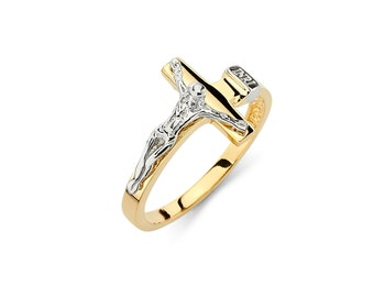 14K solid gold Crucifix Ring, Crucifix Ring Crucifix Jewelry, Cross Jewelry, Religious Jewelry, Cross Ring, Crucifix Ring, Crucifix Jewelry