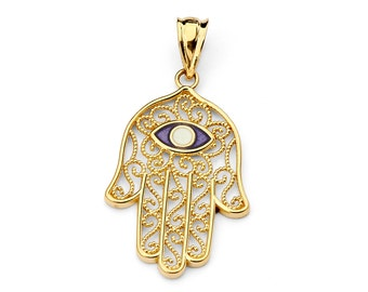 14K Yellow Gold Enamel Hamsa Pendant, Hamsa Pendant, Hamsa Jewelry, Enamel Pendant, Enamel Jewelry, Egyptian Jewelry, Luck Jewelry, Evil Eye