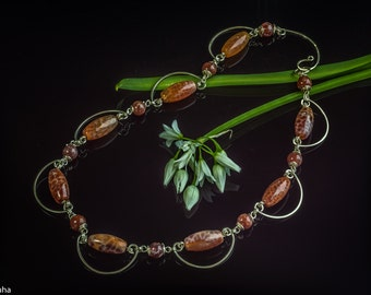 Carnelian net silver arcs necklace