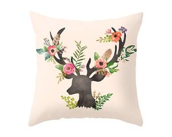 Floral Deer  - Accent Pillow Cover   - Throw Pillows - Decorative Pillows
