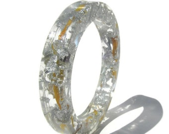 Real Sunflowers Petals and Silver Flakes Resin Bangle Flower Petals Resin Bracelet Real Flower Resin Bangle Silver Flakes Resin Bracelet