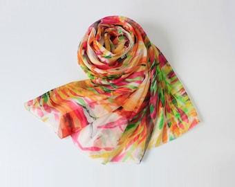 Multi Color Floral Silk Scarf - Premium Mulberry Silk Scarf - Large Silk Chiffon Scarf with Colorful Floral Print - AS2015-34