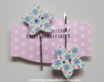 Handmade Wooden Floral Star Button Bobby Pins, Hair Grips,Hair Slides,Hair Pins.Party Favor, Wedding,Stocking Filler/Stuffer.