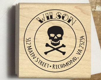 Skull and Crossbones Custom Address Rubber Stamp, personalized, tattoo name, envelope, pirate stamp