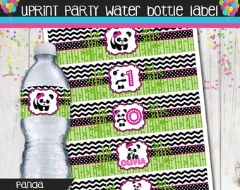 Panda Bear Water Bottle Label - Panda Water Bottle Wrapper - Birthday - Printable