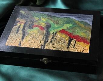 Wooden Keepsake Box - Re-Purposed Cigar Box - Original Artwork - Abstract Landscape (Box #25)