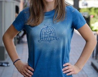 Women's Graphic Tee | Birdcage Tee | Whimsical | Custom T-shirt | Fitted, Crew Neck, Short Sleeved T-shirt | Gift for Her
