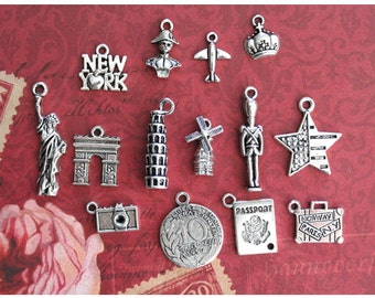 14 pcs Deluxe Travel around the world Charms Collection Antique Silver (CO82-A)