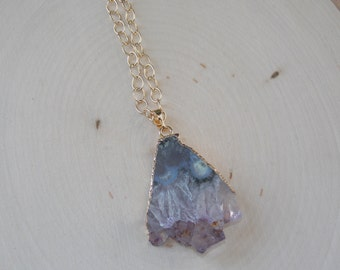 Amethyst Slice Necklace / Raw Amethyst Necklace / Amethyst Necklace / Amethyst Jewelry / Amethyst Geode / Gold Dipped Amethyst Necklace
