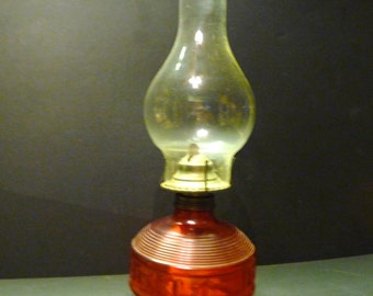 Unique raised Double Squares Base Red Glass Oil Lamp