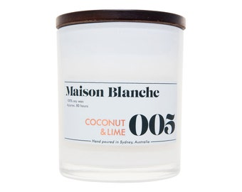 Coconut & Lime Soy Candle. Hand-poured. 80 hr burn time.