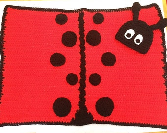 Lady Bug Blanket and Hat