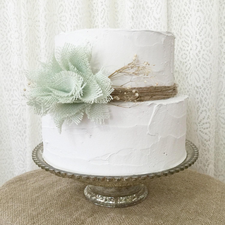 Wedding Cake Flower Decorations Mint Burlap by