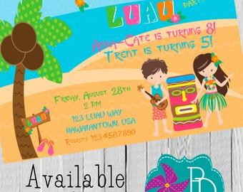 Boy/ Girl Luau Birthday Invitation Printable 4x6 or 5x7