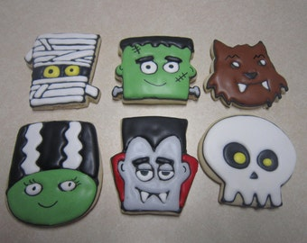 12 Halloween Monsters Decorated Cookies