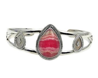Rhodochrosite & .925 Sterling Silver Cuff Bracelet , AD378
