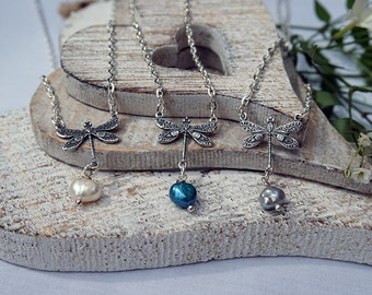 Vintage Style Dragonfly & Freshwater Pearl Necklace