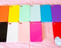 iPhone 4 4S Plain Blank Candy Color Hard Case for DECO DIY Decoden CHOOSE