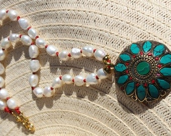 """Pearl, Leather Pendant Necklace - Large Turquoise Inlay Pendant - Grade A Freshwater Nugget Pearls - Red Leather Knotted - 22 1/2"""" & 2 1/4"""""""